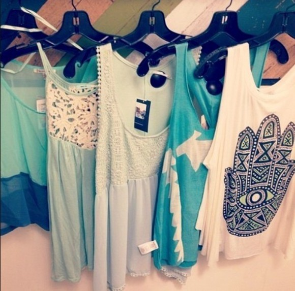 tank top lose green flowy lace flowy top turquoise high-low mint boho style white lace white top white tank blue mint green collection multiple tops flowy crop top