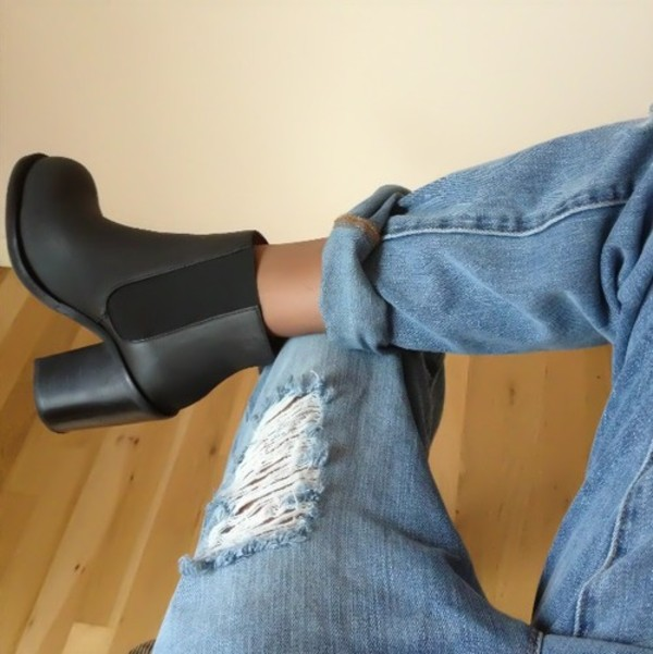 shoes black high boots boots jeans boyfriend jeans chaussures ankle boots black ankle boots block heel