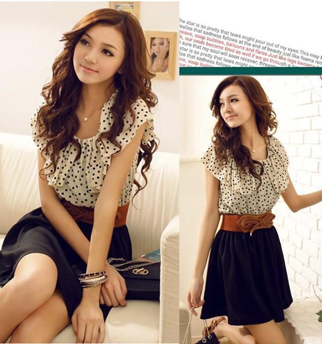 2014 Summer New Korean Women Fashion Chiffon Dress Short-sleeve Waist Mini With Belt Dresses   Amazing Shoes UK