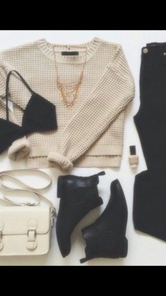 bag blouse sweater jeans shoes tank top
