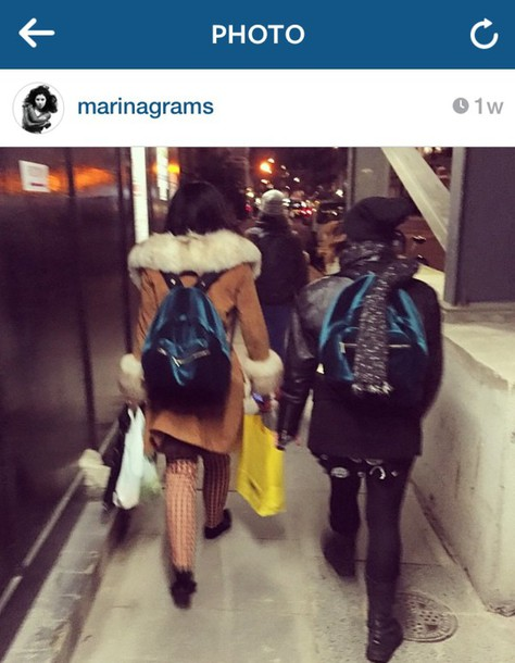 marina and the diamonds backpack velvet grunge singer music bag marina diamandis blue