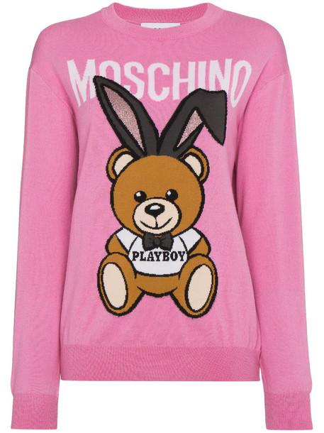 Moschino sweater bear women wool purple pink