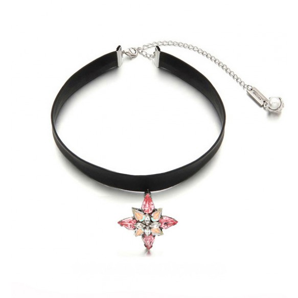 Leather Choker With Crystal Pendant