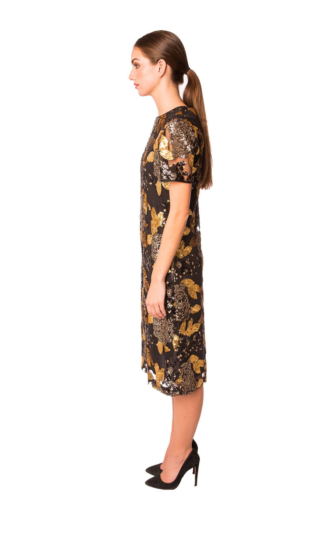 Samantha sleeper floral sequin dress in black on purely fashion