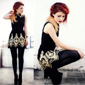 dress,gold,skater,pattern,urban,geometric