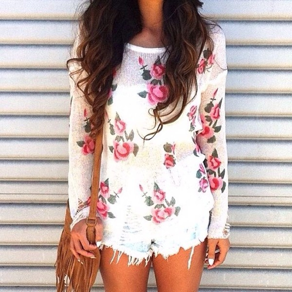 sweater floral spring fringed bag shorts