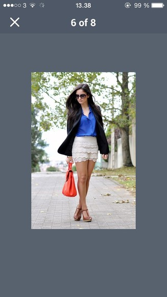 blouse shorts blue blouse blonde vintage vintage shorts bag purse blazer jacket