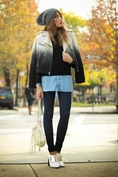 the marcy stop,blogger,bag,shirt,ombre,perfecto,knitted beanie