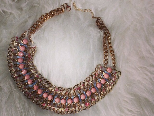 jewels pink diamonds necklace gold