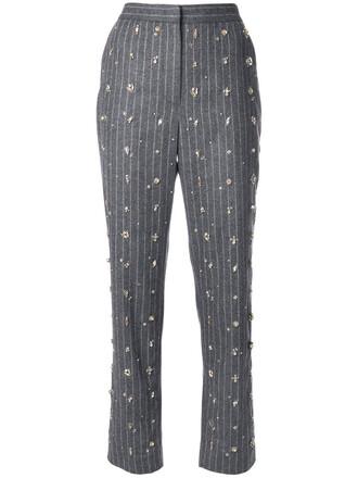 women embellished wool grey pants