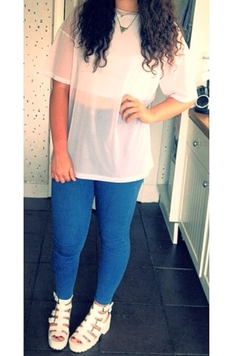 blouse top white jeans blue white top shoes mesh mesh top
