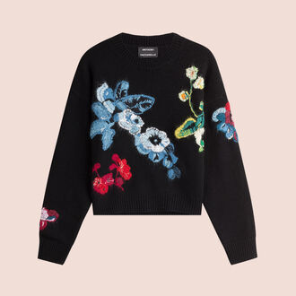 sweater designer floral sweater flowers black sweater anthony vaccarello