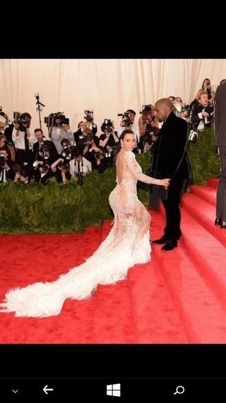dress nude dress sheer kim kardashian kim kardashian dress