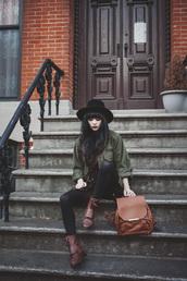 jag lever,blogger,dress,hat,combat boots,leather backpack,hipster,khaki,bag,jacket,shirt,shoes,college