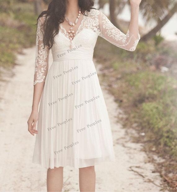 A line v neck half sleeve short lace wedding dresses