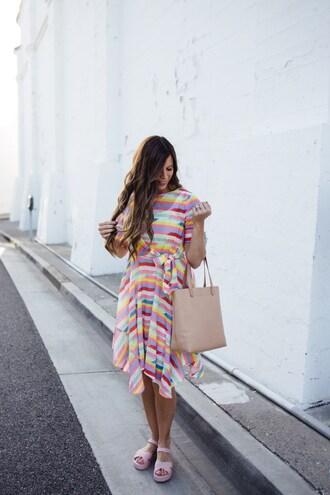 mint arrow blogger dress bag shoes rainbow multicolor midi dress tote bag summer dress summer outifts sandals