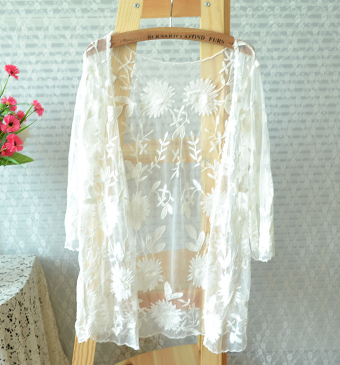 com : Buy Summer Women Semi Sheer Lace Embroidery Long Sleeve ...