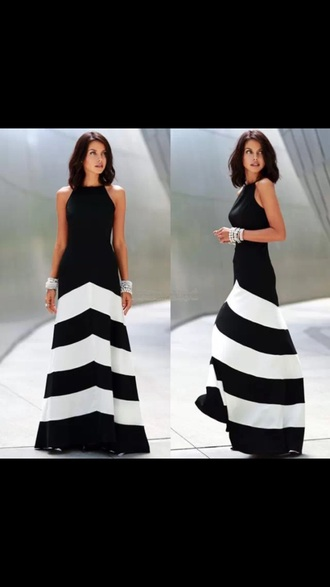 dress striped dress black and white dress earphones