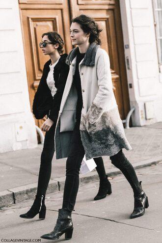 coat tumblr fashion week 2017 streetstyle white coat jeans denim black jeans skinny jeans black skinny jeans boots black boots ankle boots mid heel boots pointed boots suede suede boots black jacket sunglasses girl squad