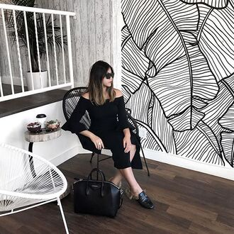 dress tumblr black dress midi dress slit dress off the shoulder off the shoulder dress three-quarter sleeves bell sleeves bag lack bag black bag all black everything gucci gucci shoes gucci princetown wall decor wall paper