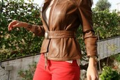 brown leather,jacket