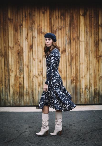 fashionbananas blogger dress jacket hat shoes fall outfits beret boots midi skirt