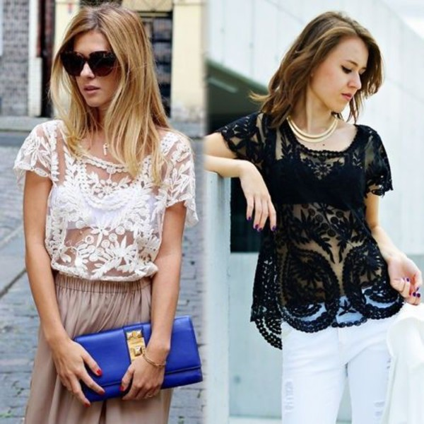 floral crochet short lace embroidery blouse Sexy Hollow-Out shirt