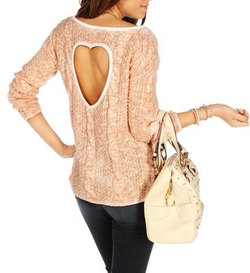 Rose/Ivory Heart Back Sweater