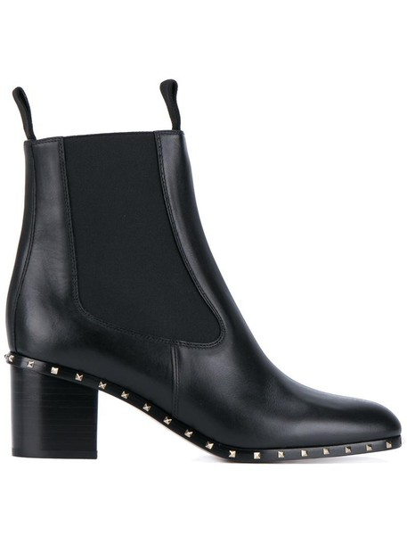 Valentino metal women boots ankle boots leather black shoes