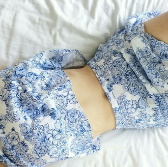 dress top skirt blue and white