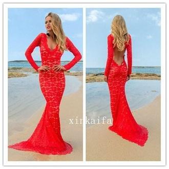 dress red dress lace dress prom dress long dress mermaid prom dress