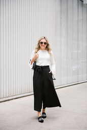 pants,tumblr,culottes,black culottes,wide-leg pants,palazzo pants,top,white top,bell sleeves,shoes,mules,bag