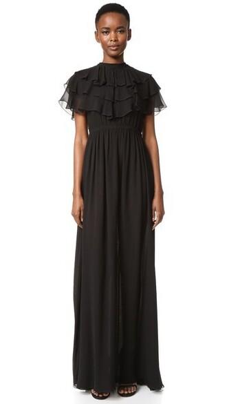 gown ruffle black dress