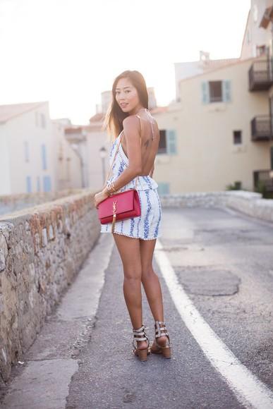 summer outfits romper pattern cute dress sun dress blue dress pretty dress