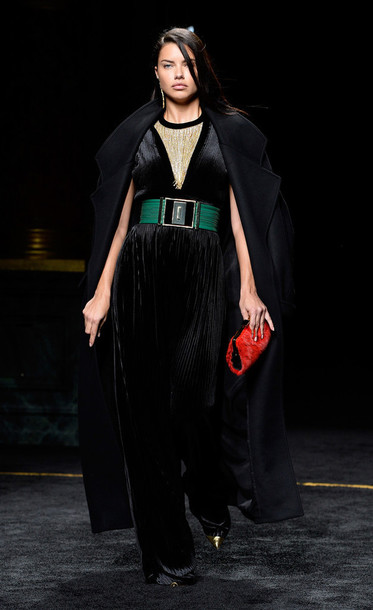 jumpsuit pants coat adriana lima balmain fashion week 2015