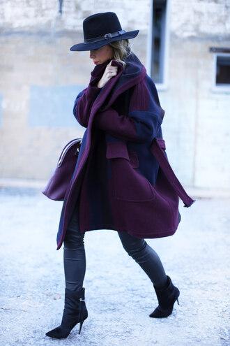hat blogger coat happily grey oversized
