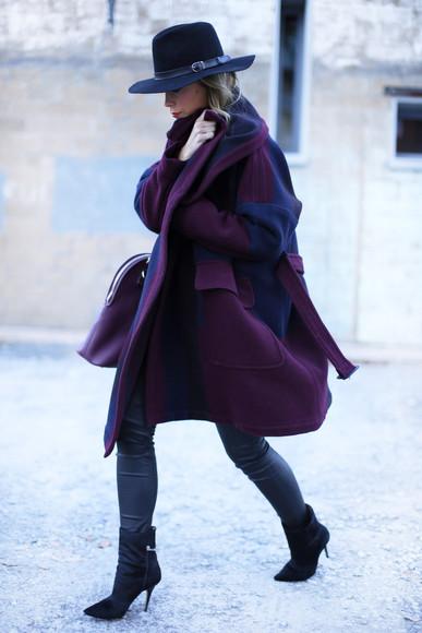 oversized coat blogger happily grey hat
