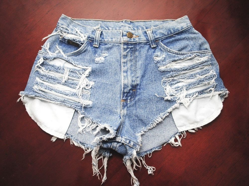 Destroyed High Waisted Shorts Vintage Denim Sz 6 W27 Distressed | eBay
