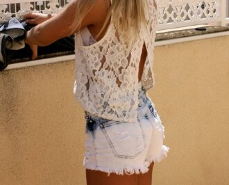 shirt shorts dip dyed lace shirt tie dye blouse lace flowers open back so pretty give me summer tan