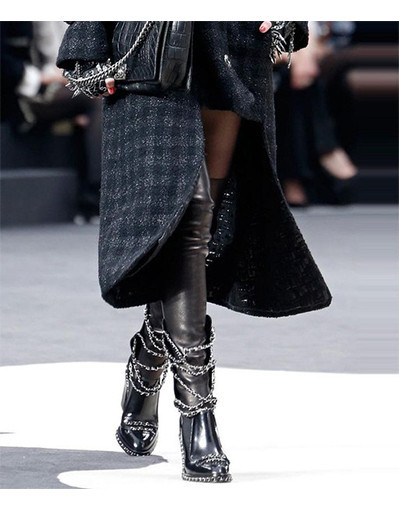 Motorcyle leather boots with chain and rivets high heel heels