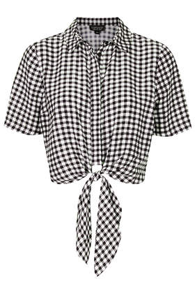 Gingham Tie Front Shirt - Tops  - Clothing  - Topshop