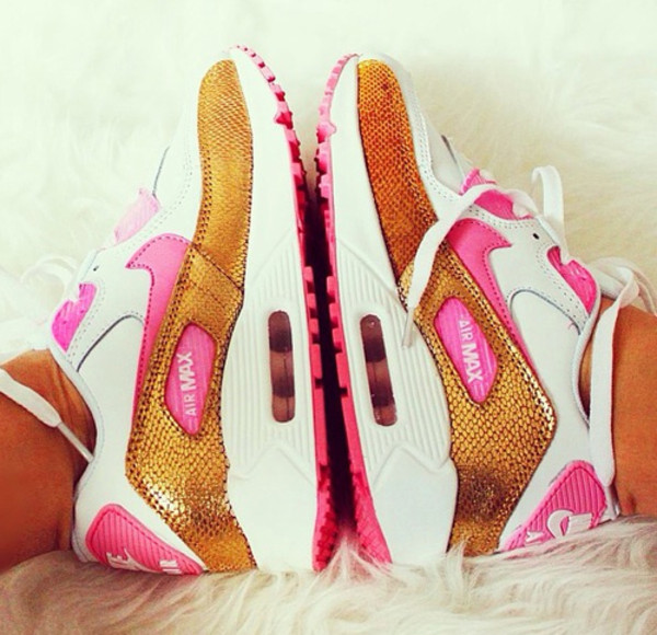 shoes air max air max nike pink gold white