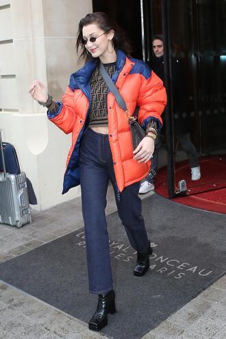 top jacket jeans denim bella hadid model off-duty paris fashion week fashion week fashion week 2018
