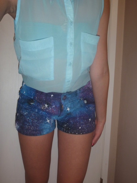 shorts galaxy print blue clothes shirt skirt top mint button up