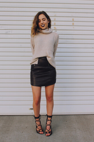 views of now blogger dark lipstick leather skirt turtleneck strappy shoes strappy sandals sweater skirt shoes make-up