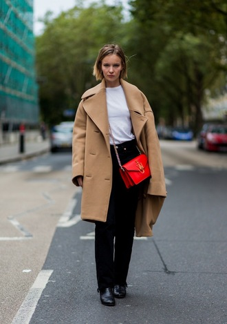 coat diane rouxel french actress celebrity style celebrity pants black pants bag red bag streetstyle camel camel coat oversized oversized coat