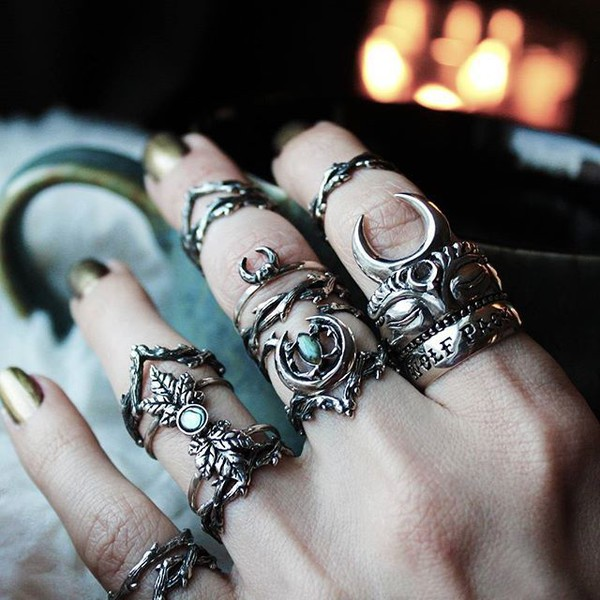 jewels shop dixi abalone thorn goth grunge jewelry ring