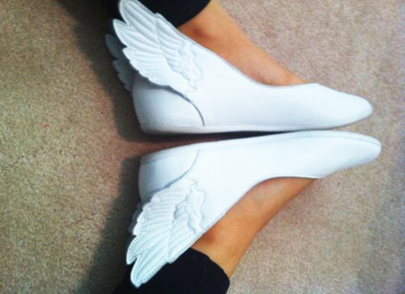 ballerinas shoes white cute wings angel wings