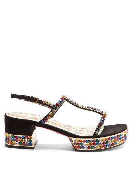 gucci embellished sandals suede black shoes