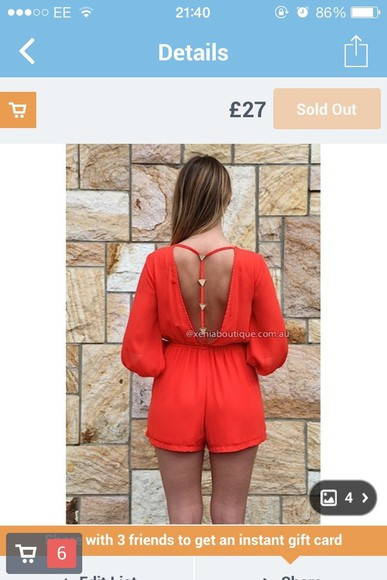 shorts backless red playsuit triangles